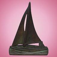 Vintage Sailboat Doorstop Cast Iron with Bronze or Brass Wash Door Stop
