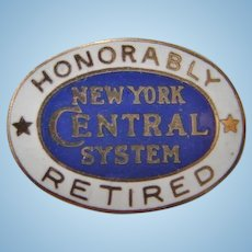 "New York Central Railroad ""Honorably Retired"" Enamel Lapel Pin"