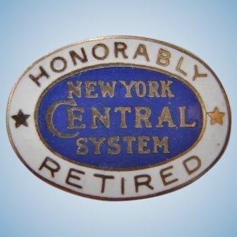 "New York Central Railroad ""Honorably Retired"" Enamel Lapel Pin"