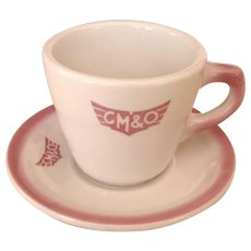 Vintage Gulf Mobile & Ohio Railroad China Coffee Cup & Saucer Set G&MORR