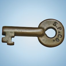 Antique Southern Pacific Railroad Brass Switch Key A&W Oval Stamp SPCO