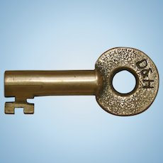 Vintage Delaware & Hudson Railroad Brass Switch Key D&HRR