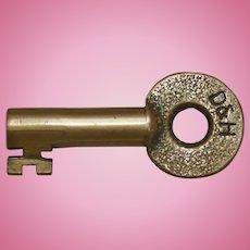 Vintage Delaware & Hudson Railroad Brass Switch Key D&HRR