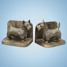 Vintage 1920s Signed Frankart Brass Full Body Scottie Dog Bookends