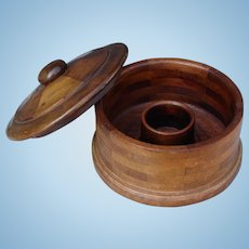 Victorian Era Round Wooden Gentleman's or Lady's Collar Box Fashion Accessory