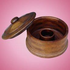 Victorian Era Round Wooden Gentleman's or Lady's Collar Box Fashion Accessory