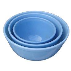 "Vintage 1960 Scarce Pyrex Blue Delphite ""Bluebelle"" Three Nesting Mixing Bowls Set"