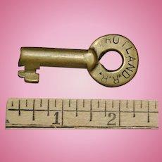 Vintage Rutland Railroad Brass Switch Key Adlake