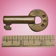 Scarce RRR Stamped Rutland Railroad Brass Hollow Barrel Switch Key