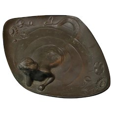 Bronze Mermaid Nude Calling Card or Vanity Tray Art Nouveau Style c. 1900s