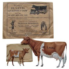 Authentic 1920s DeLaval Guernsey Cow and Calf Tin Lithographed Advertising Set w/VERY Hard to find Original Envelopes!