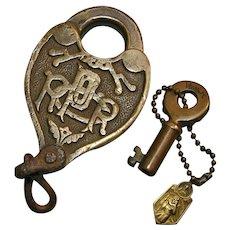 Antique PRRCO Fancy Castback Pennsylvania Railroad Brass Heart Shape Switch Lock & Key Set