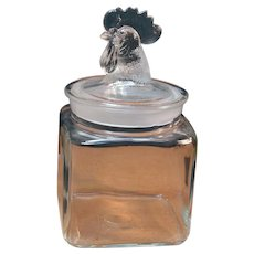 Vintage Rooster Head Handle Kitchen Glass Canister