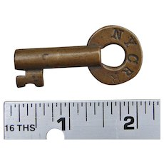 Vintage New York Central Railroad NYCRR Brass Switch Key Unusual Maker