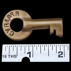 CYR&PRR Railroad Brass Switch Key Cananea, Yaqui River & Pacific Railway