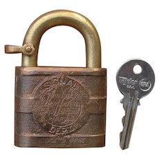 Vintage New York, New Haven & Hartford Railroad Brass Signal Lock w/ Key by Yale NYNH&HRR
