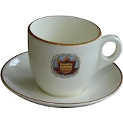 "Vintage 1920s Canadian National Railway ""Queen Elizabeth"" Royal Doulton Railroad China  Demitasse Cup & Saucer Set"