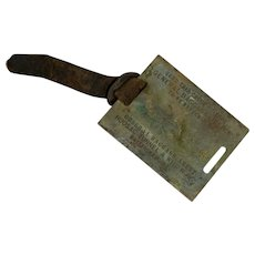 Scarce Hoosac Tunnel & Wilmington Railroad Brass Baggage Tag