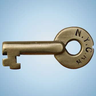 Antique Early 1900s NYCRR New York Central Railroad Brass Switch Key Adams & Westlake