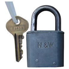 Norfolk & Western Railway N&WRY Smaller Steel Slaymaker Utility Lock w/ Original Matching Key