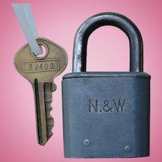 Norfolk & Western Railway N&WRY Smaller Steel Slaymaker Utility Lock w/ Original Matching Key