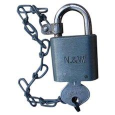 Vintage Norfolk & Western Railway Steel Padlock & Original Key Lock Set