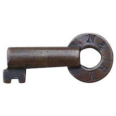 Vintage N&WRY Railroad Brass Key Fits Norfolk & Western Fancy Castback Locks