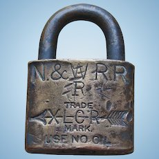 "Vintage Norfolk & Western Railway XLCR ""R"" Railroad Brass Lock Padlock"
