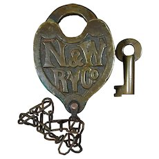 Norfolk & Western Railway Castback Slaymaker Switch Lock & Key Set Railroad Brass