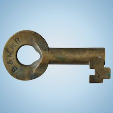 Vintage B&MRR Railroad Brass Switch Key Boston & Maine Railway