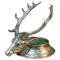 Antique Victorian Stag Elk Silver Plated Figural Inkstand Inkwell Base by Reed & Barton