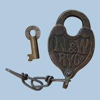 Vintage Norfolk & Western Railway Fancy Castback Lock & Key Railroad Brass N&WRY