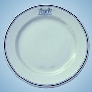Vintage 1960s Harry M Stevens Baseball Concessionaire Top Logo Restaurant China Dinner Plate