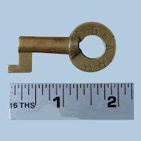 Antique Unusual Boston & Maine Railroad Brass Key by Sherburne B&MRR