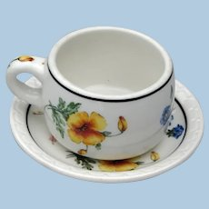 Vintage Southern Pacific Railroad China Cup & Saucer Set in Prairie Mountain Wildflowers Pattern