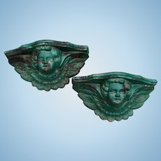 Fabulous Architectural Cast Iron PAIR of Cherub Angel Planters Garden Wall Pockets