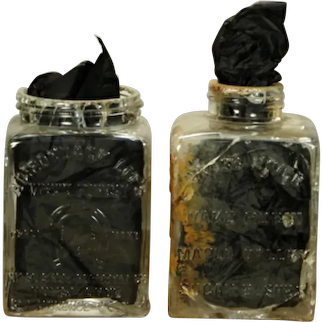 TWO Antique Scarce Horse Shoe Forestry Adirondack Mountains Maple Syrup Embossed Glass Jars circa 1900
