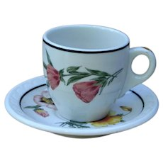 Vintage Southern Pacific Railroad China Demitasse Cup & Saucer Set  Prairie Mountain Wildflowers