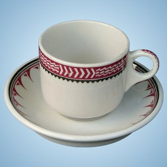 Vintage Santa Fe Railroad China Mimbreno Cup & Saucer Set AT&SF Railway