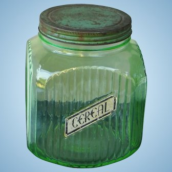 Vintage Big Green Depression Glass Canister Jar w/ Original Label and Lid