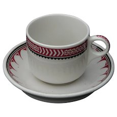 "Vintage Authentic Santa Fe Railroad China ""Ancient Mimbreno"" Cup and Saucer Set Full RR Bottom Marks AT&SFRY"