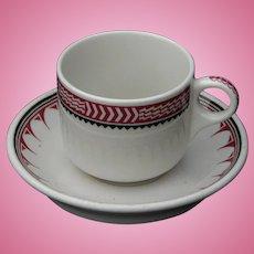 "Vintage Authentic Santa Fe Railroad China ""Ancient Mimbreno"" Cup and Saucer Set Full RR Bottom Marks AT&SFRY"