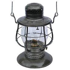 Antique Delaware & Hudson Railroad CT Ham #39 Clear Cast Script Logo Tall Globe Bell Bottom Lantern D&HRR