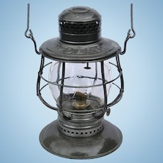Antique Delaware & Hudson Railroad CT Ham #39 Clear Cast Script Logo Tall Globe Bell Bottom Lantern D&HRR