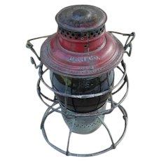 "Antique Delaware & Hudson Company Adams & Westlake Adlake Reliable Red Cast ""the D&H"" Script Logo Railroad Lantern"
