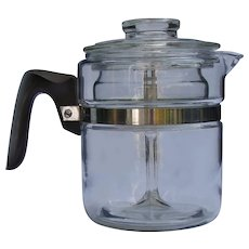 Vintage 1940s Pyrex 7824B Flameware 4-Cup Glass Percolator Coffee Pot