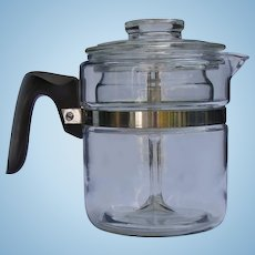 Vintage 1940s Pyrex 7824B Flameware 4-Cup Glass Percolator Coffee Pot