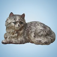 Early 1900s Signed Hubley Reclining Cat Cast Iron Lifelike Full Body Door Stop