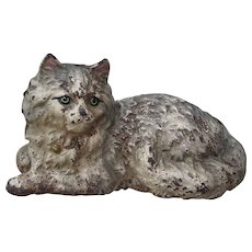 Early 1900s Signed Hubley Reclining Cat Cast Iron Lifelike Full Body Door Stop