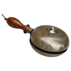 "Antique Unusual 1800s Double-Sided Brass ""Muffin"" Hand-Held Alarm Bell with Cherry Wood Handle"
